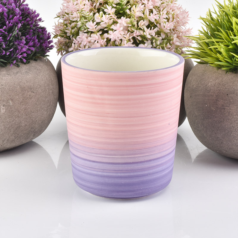 Customized home decoration pink ceramic candle jar