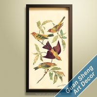 Living room decor 3d birds Landscape collage picture wrought iron frame