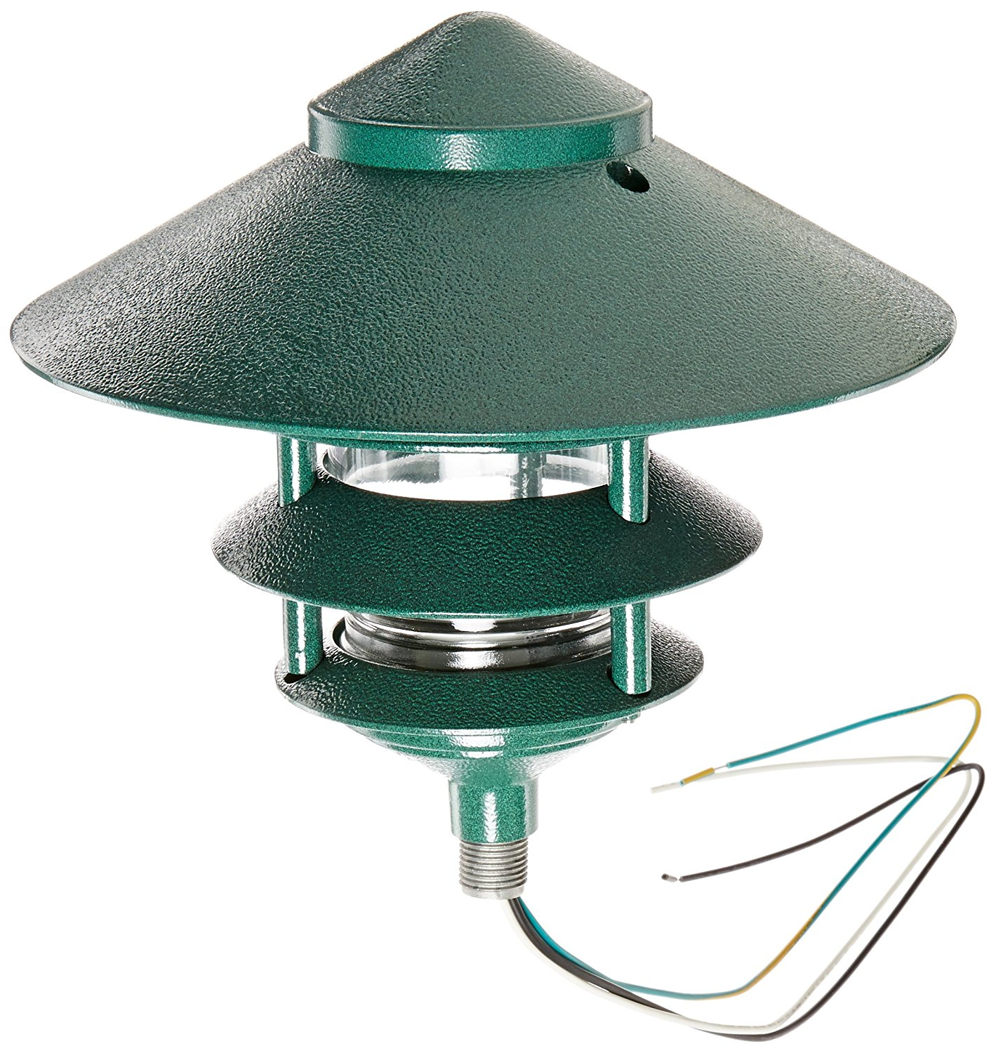 "RAB Lighting LL23VG Incandescent 4 Tier Lawn Light with 10"" Top, A-19 Type, 100W Power, 1650 Lumens, 120VAC, Verde Green"