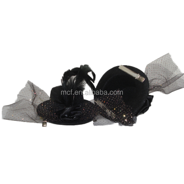 MCH-2192 Carnival Halloween fashion cheap wholesale black women party felt Mini top hat with feathers