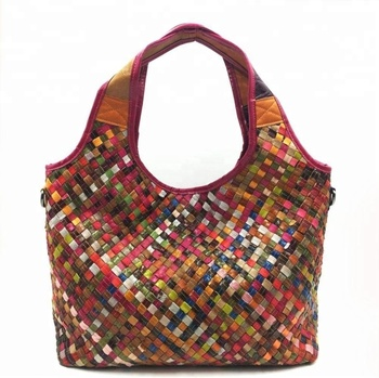 KYJ139 2019 New Trending Colorful Sheep leather Goatskin Weave Women Tote Bag  Woven handbag Crossbody Bag 9f1c4ceb56