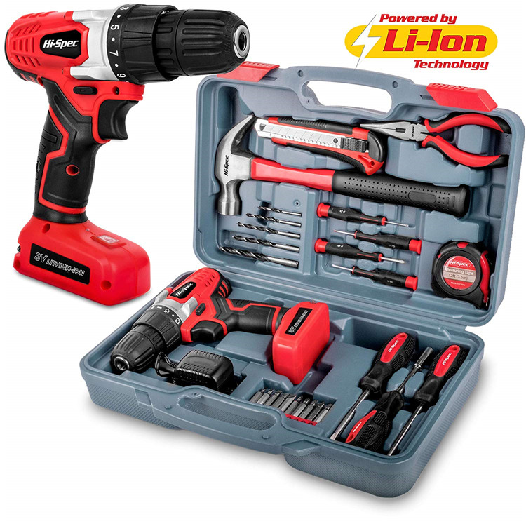 Hispec 26pc 8V 1300mAh Li-Ion Wiederaufladbare Cordless Power Drill mit LED Licht Haushalt DIY Tool Kit Set mit Bohrer Maschine