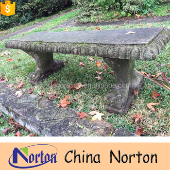 Antique Stone Carved Granite Garden Bench For Sale NTMF B003Y