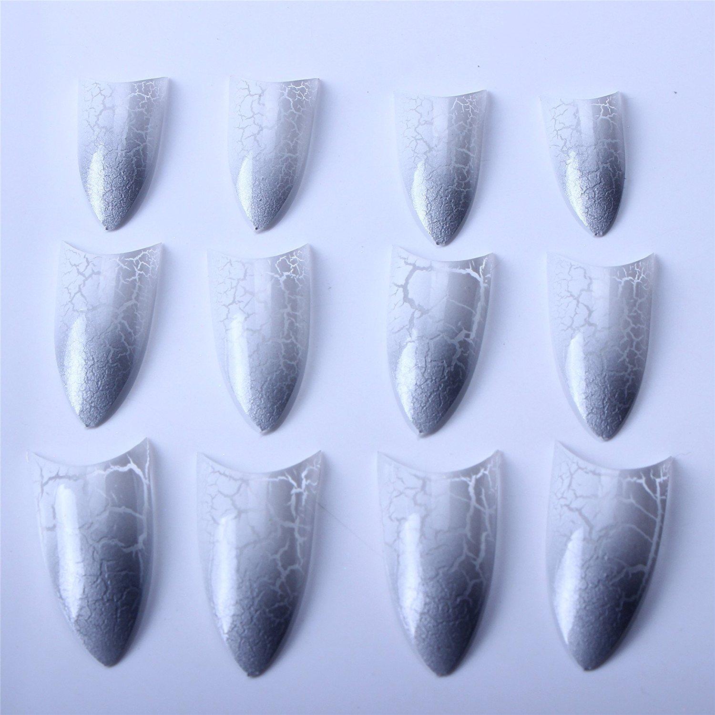 ECBASKET Trendy 70 pcs + box Acrylic Sharp Ending Stiletto False Nail Art Tips