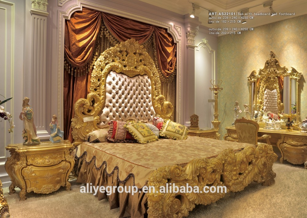 Most Beautifull Deco Paint Complete Bed Set: Art22101-luxurious Gold Color Hand Carving Wooden Bedroom