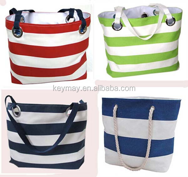 Rope Handle Foldable Stripe Beach Bag Canvas Bags Handbag - Buy ...