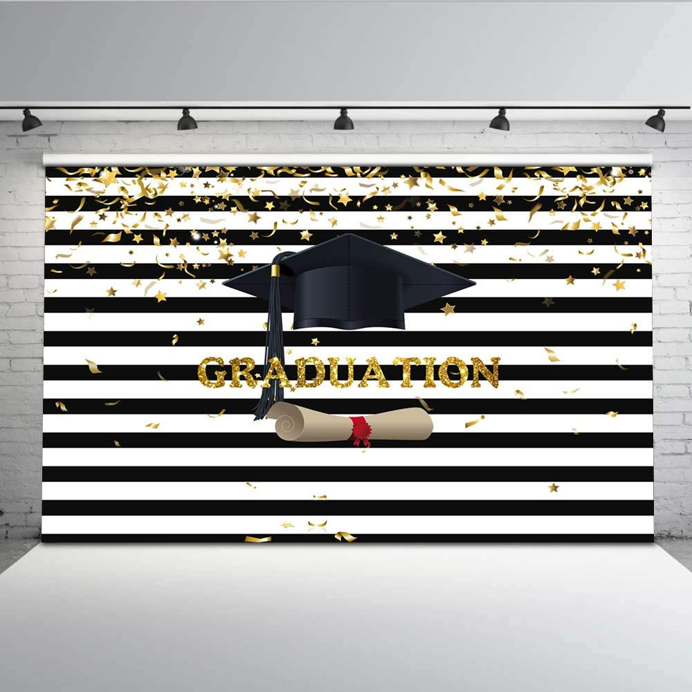Mehofoto Graduated Photo Backdrop Black and White Stripes Graduation Cap Photography Background 7x5 Gold Stars Confetti for Students Backdrops for Photoshoot Props