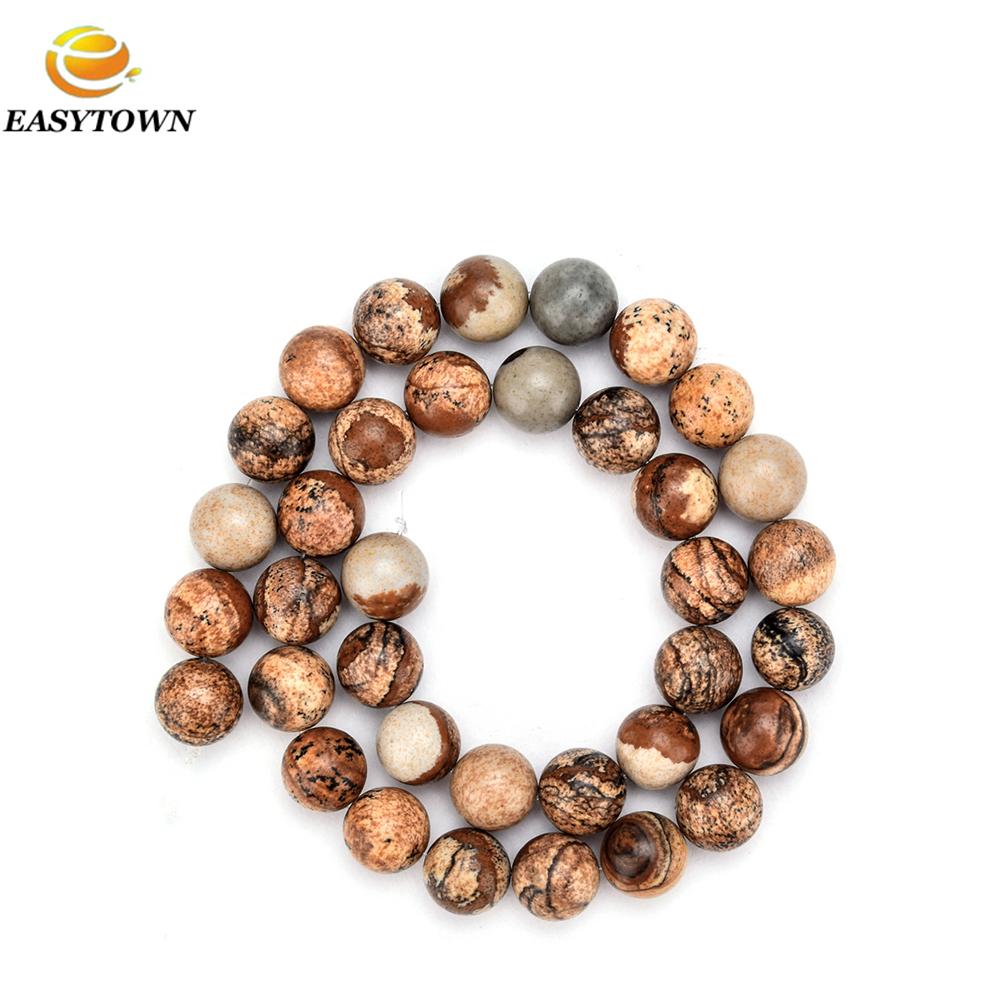 f1cb7c71fb8d Piedra natural perlas de jaspe rounde granos flojos para las pulseras y  collar