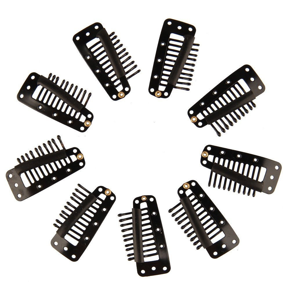 Beauty7 Black 10-Teeth Metal Snap-Comb Clips With Rubber for Hair Extension Wigs Weft Hairpiece Feather DIY 3.8cm (50PCS)