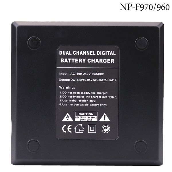 dual channel digital battery charger for NP-F550 F770 F750 F960 F970 camera led battery