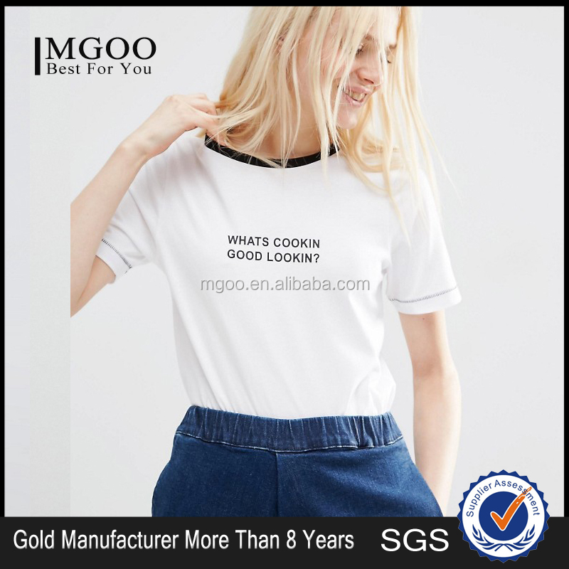 MGOO High Quality Women Simple White T shirt With Black Logos Short Sleeves Contrast Neck