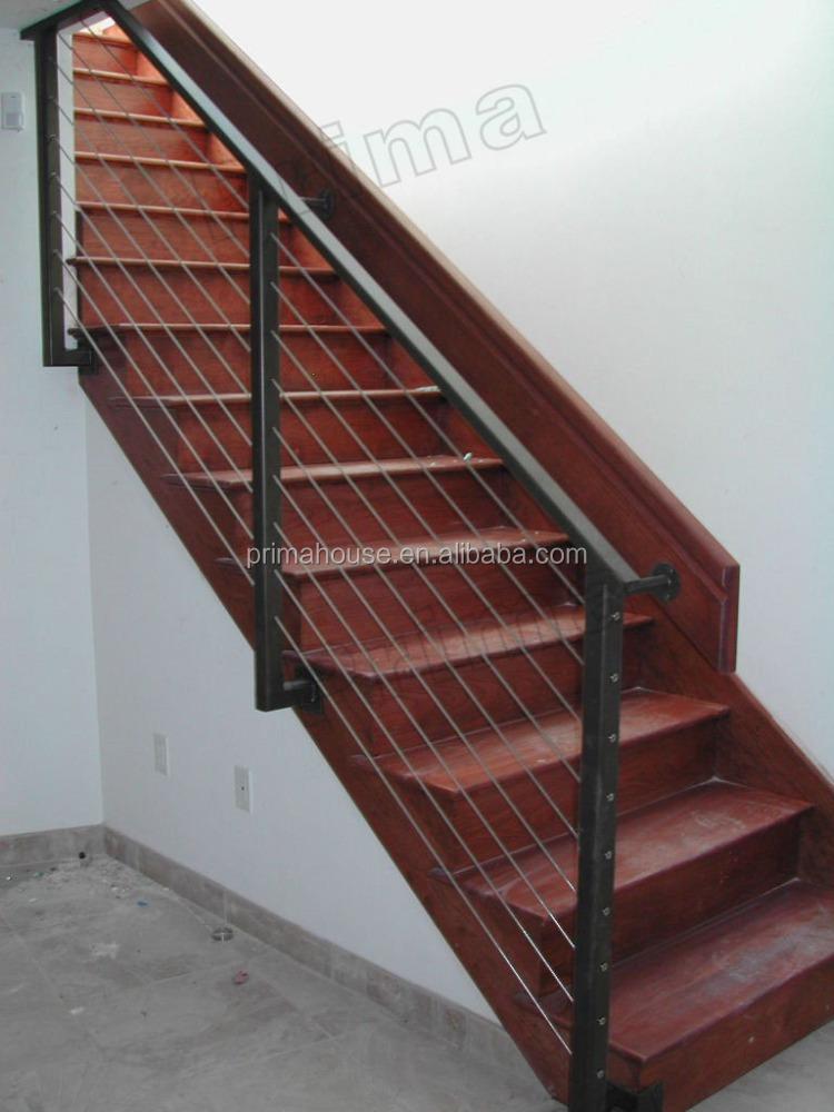 Interior de acero inoxidable escaleras barandas de vidrio for Barandas de madera para escaleras interiores