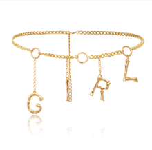 Gold Sexy Girl Lady Dance Body Metal Belly Chain Belt With Dangling Letter