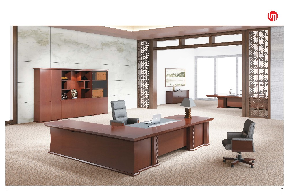 CEO Desk With Thailand Teak Veneer Office Furniture China Supplier Solid Wood