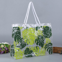 clear PVC shopper merchandise cosmetic beach handle tote bags with logo printing