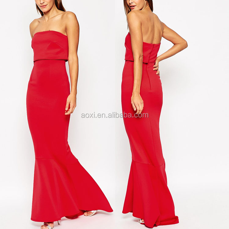 China Supplier Wholesale off the shoulder chiffon red slim maxi mermaid evening dress