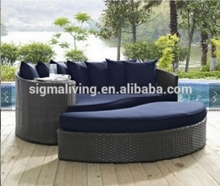 New arrival garden furniture wicker waterproof sunbed semicircle daybed sets rattan spliced sofa