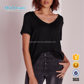 fb6f09d06d8f MGOO Garment Custom Oversize Short Sleeves Loose Style Fashion Bamboo  Spandex Women V Neck T-