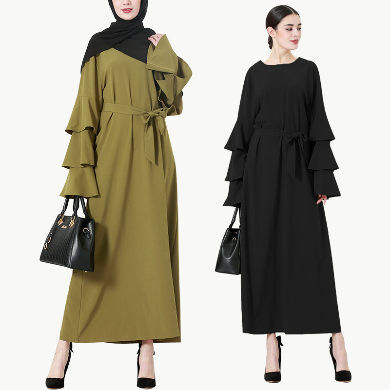 Newest wholesale islamic clothing high quality women dresses fashion sleeve front closed abaya