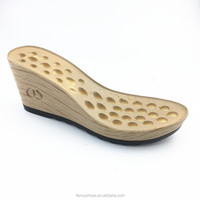New fashion high heel wedge wood women size and PU material lady sole