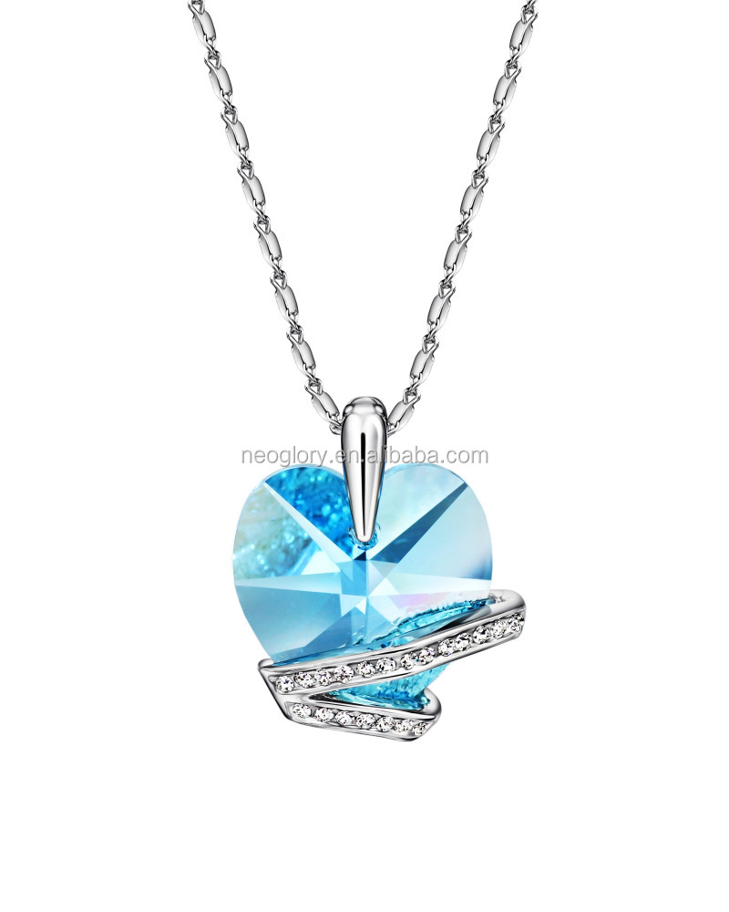 2016 Alibaba Wholesale Latest Design Clear Heart Shaped Crystal V Shape Prom Pendant Necklace Made With Swarovski Elements