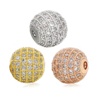 Much colors and size round shape large hole spacer fashion high quality charm wholesale beads brass beads micro pave bead