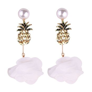 Boho Baru Kedatangan Kristal Nanas Sutra Bunga Lucu Anting Wanita Perhiasan Bohemia Drop Earrings