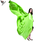 Mustard green plain color chiffon silk scarf