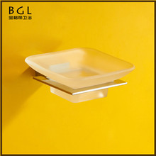 Latest styles & innovations square design stylish frosted glass brass bathroom accessories soap dish