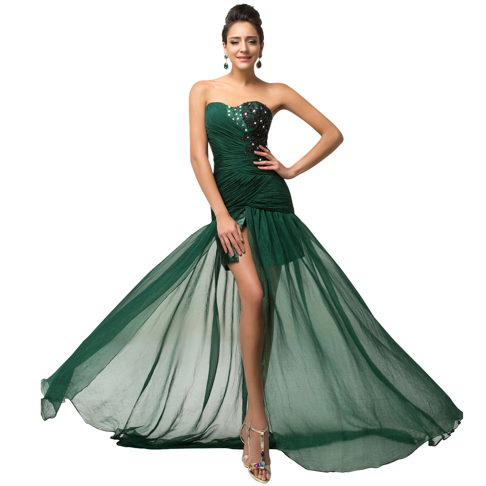Free Shipping Exquisite 2015 Beadings Dark Green Evening Dresses Long Formal Party Gown Special Occasion Dress Slit Front 007570