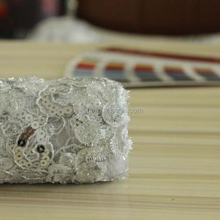 New Style Silver Flower Ribbon Embroidery Fabric And For Textile