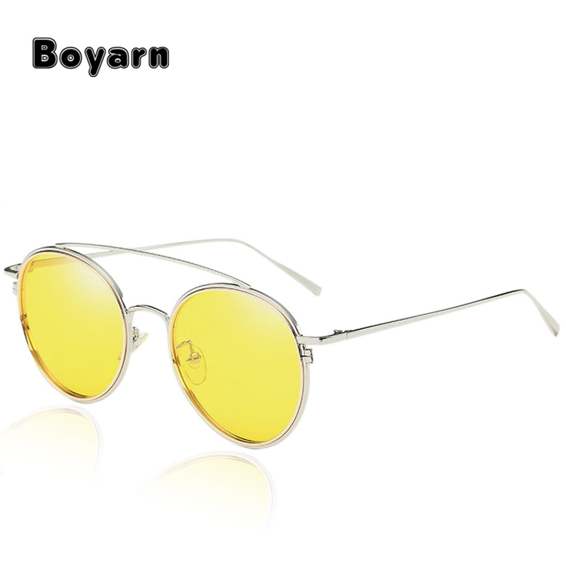 Round Polarized Yellow Night Vision Glasses Women Candy Color Double Beam Thin Frame Sunglasses Men Luxury Brand Eyewear W710