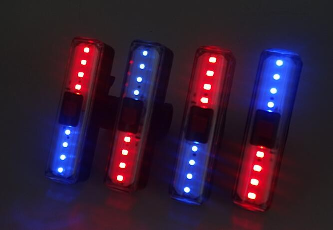 Red And Blue Bicycle Light With Warning Function