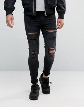 48626fb2b9 100% de los hombres de algodón pesado de destrucción en la rodilla bolsillo  pantalones de