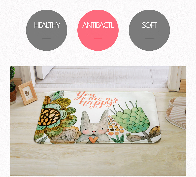 71a55aeb9d20 Fairy tale Style Kid Bedroom Cute Rabbit Carpet Indoor Area Villus Carpets  Kitchen Bathroom Non Skid Door Mats Washable Rugs - us804