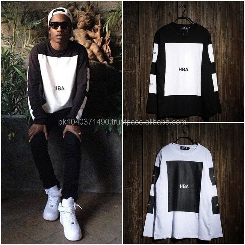 Mens Creative Black & White Hip-hop Square Long Sleeve T-shirts ...