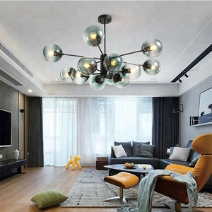 Nordic Magic Bean Chandelier Modern Creative Wooden Glass Ball Pendant Lamps