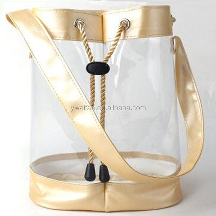 Customize Clear PVC transparent Cosmetic Bags Gift Wine Drawstring Bucket Bag