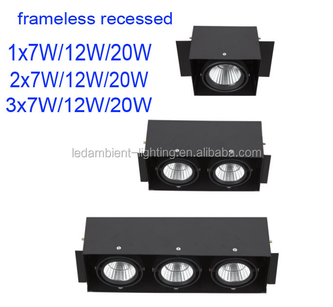 Frameless COB LED <strong>downlight</strong> with high lumens 100lm w trimless recessed <strong>downlight</strong>