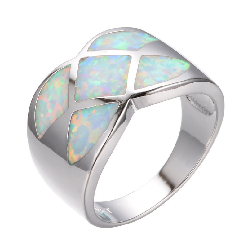 Get Quotations · Rainbow Fire Flower Opal Stone Wedding Band Size 6/7/8/9  White