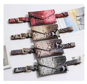 Women Fanny Pack Vintage Serpentine Waist Pack High Quality PU Leather Phone Pouch Fashion Snake Skin Waist Bag Messenger Bags