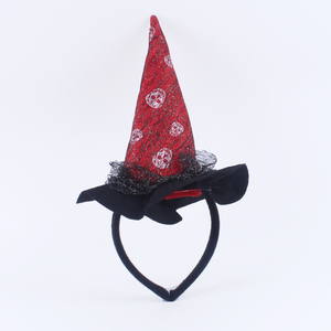 crossbone witch hat headwear halloween lace felt cloth short plush feather party accessory