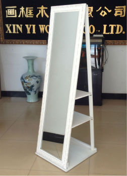 Wooden Rotating Framed Dressing Mirror Jewely Stand