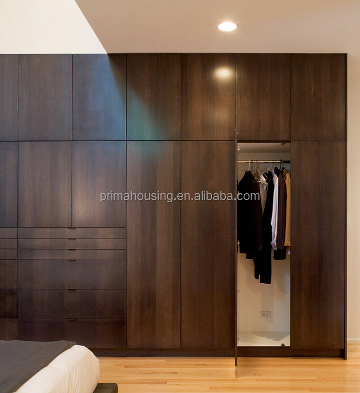 Bedroom Closet Wood Built In Wardrobe Cabinet With Sliding Door