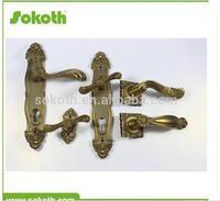 zinc lever door handle hardware lock,door handle on plate,antique brass door handle