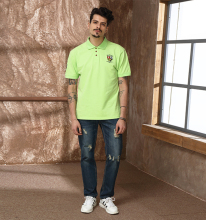 Men Fashion Polo T shirt With Patch Embroidery Summer