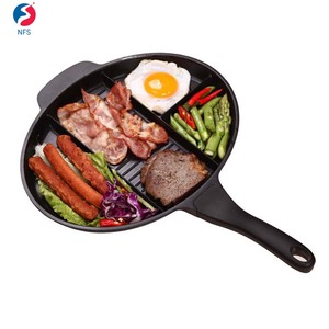 4 Section Divided Aluminum Non Stick Fry Pan Induction Cooking Pan