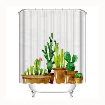 Wholesale Waterproof Curtain Fabric/Digital Printing Custom Made Shower Curtain