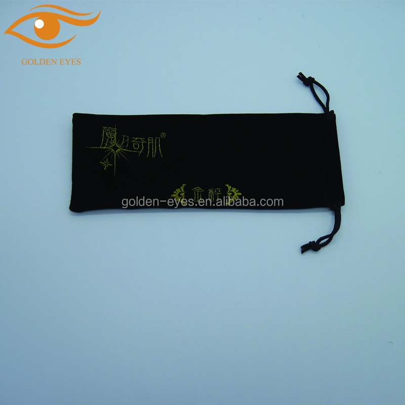 Black Velvet Drawstring Bag with Golden Logo Printing
