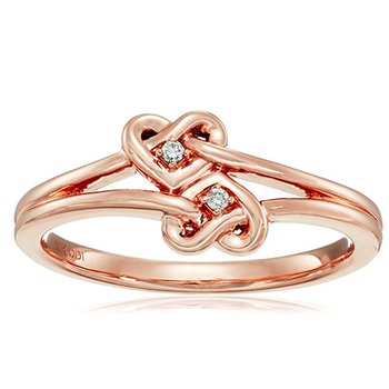 10k Rose Gold 925 Sterling Silver Double Heart Shape Ring Designs